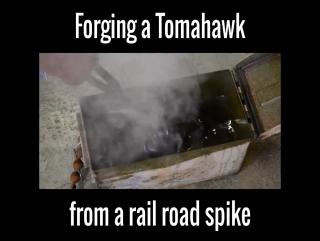 изготовление топора-томагавка из железнодорожного гвоздя.
