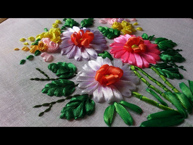 Hand embroidery designs. Hand embroidery stitches tutorial. Ribbon embroidery.