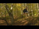 Snowboarding and skiing. Autumn ride in the forest