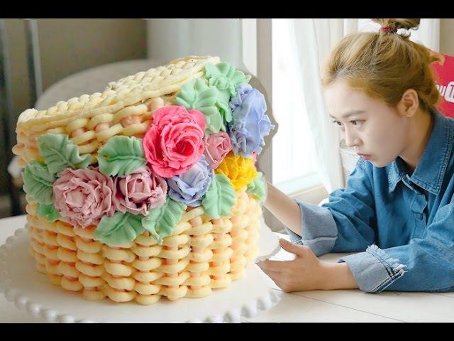 Flower basket cake 소녀감성~♥ 꽃바구니 플라워바스켓 만들기 더스쿱