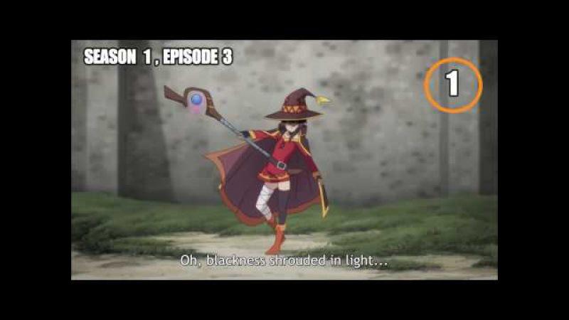 Konosuba All Megumin Explosion of Season 1 and 2
