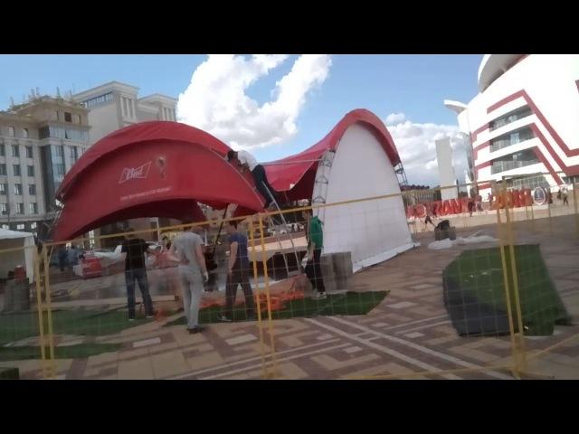 Саранск, площадь Тысячелетия, подготовка к празднику