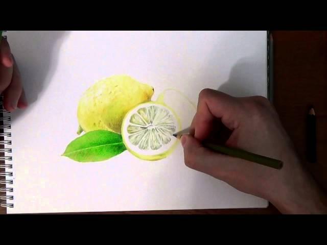 Рисуем лимон акварельными карандашами