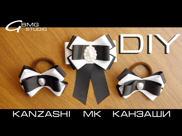 МК Канзаши. Брошь-галстук и резиночки. Аксессуары для школьной формы. Рукоделие/DIY/Handmade