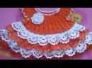 Вязание. Вяжем платье на малышку ЛУЖОК . Часть 3.( knit dress baby)
