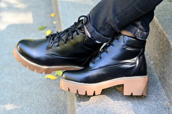 Ботинки из пу кожи на толстой подошве + видео Ботинки