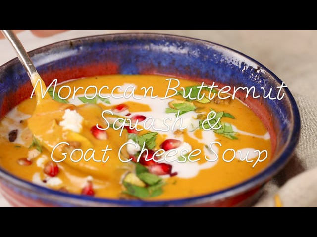 Moroccan Butternut Squash and Goat Cheese Soup w/Coconut Ginger Cream Pistachios