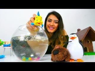 Çizgi film oyuncakları - #çocukoyunları Türkçe izle. Merve ile Akvaryum yapıyoruz!