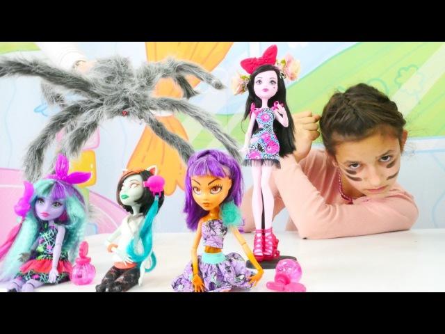 Asu Ela MonsterHigh okulunu örümcekten kurtarıyor. Eğlenceli oyunlar Türkçe izle!