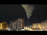 Зима в городе. Мороз. Ночная улица. Тюмень. Бесплатный Видео футаж HD