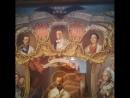 Патриарх Кирилл, премьер-министр Медведев и православная икона с «ликами» самозванцев Кирилловичей и приспешника Гитлера (2014)