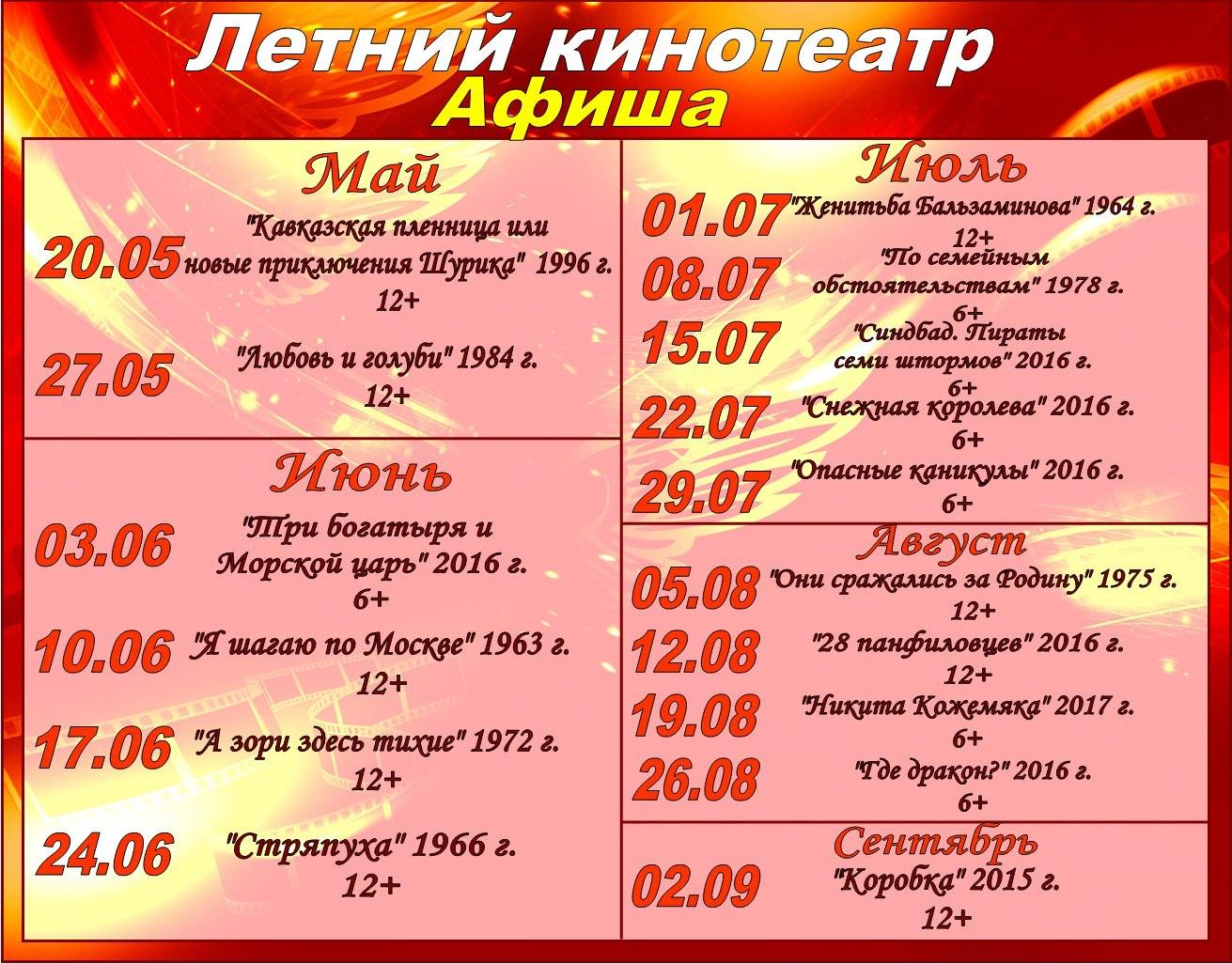 Афиша летнего кинотеатра
