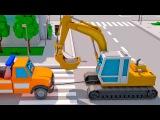 Bagger kinderfilm - Lastwagen Cartoon fur Kinder - Lernen und Bauen - Spielplatz f