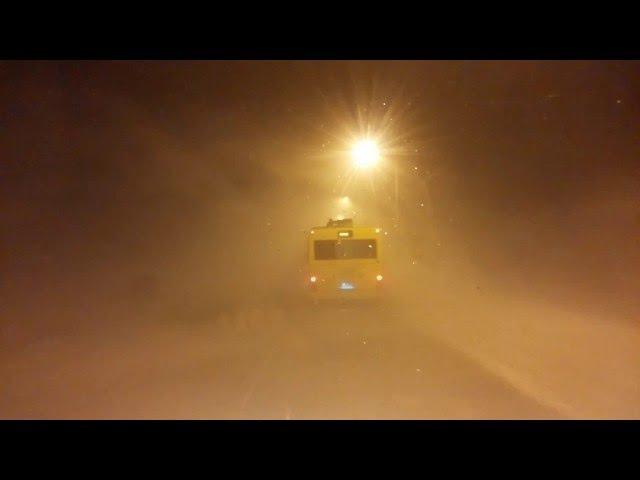 Пурга на дороге Норильск - Кайеркан, 27 февраля 2016 года