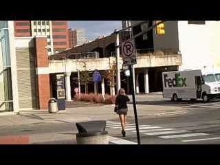 High Heeled, Stocking, Mini Skirt in public