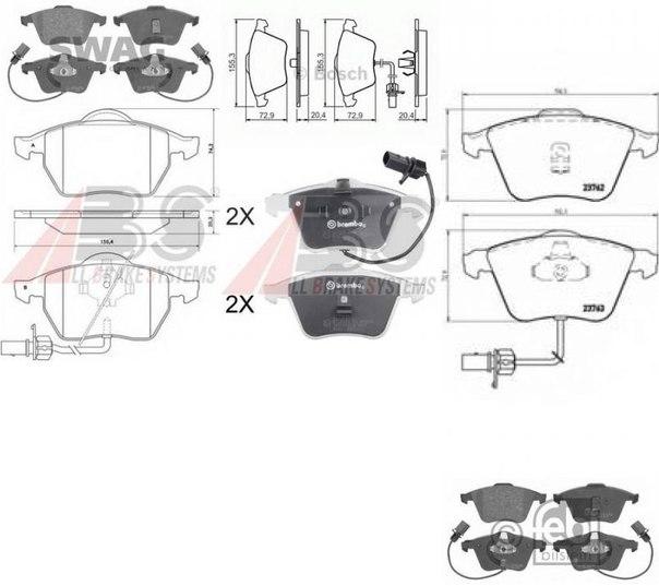 Комплект экономичных тормозных колодок для AUDI ALLROAD (4BH, C5)