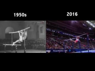 Спортивная гимнастика - тогда и сейчас. Почувствуйте разницу