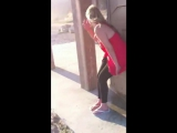 Peeing her pants outside a locked port-a-potty