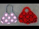 Granny Square Bag Crochet Tutorial Part 3 of 3 - Handles Version 2 of 2