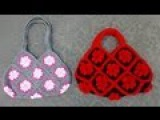 Granny Square Bag Crochet Tutorial Part 2 of 3 - Handles Version 1 of 2