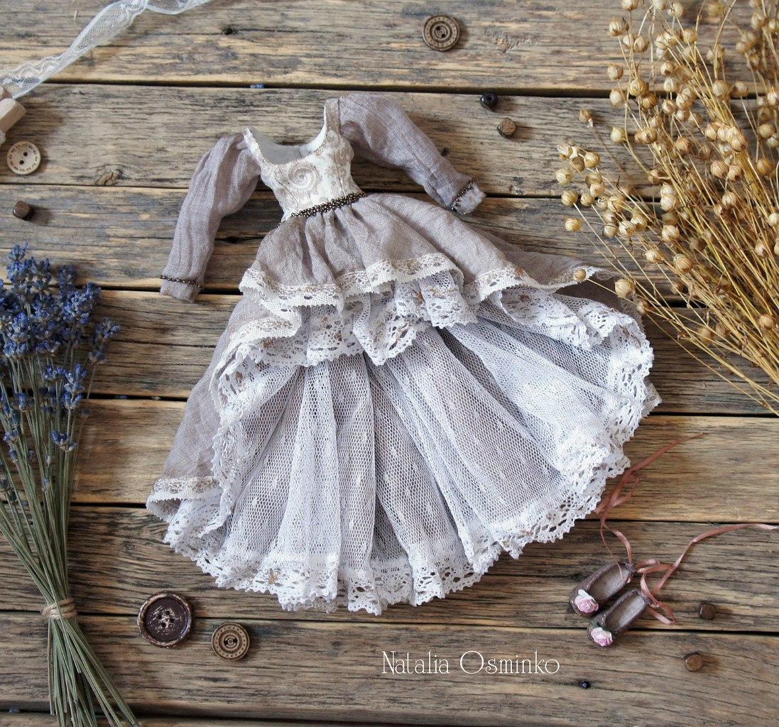 платье для куклы ручной работы