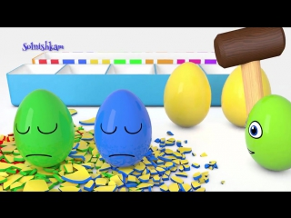Яйца с сюрпризом и молоток Учим цвета Surprise eggs Развивающий мультик для детей
