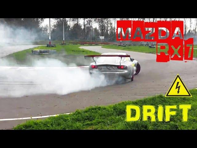 RACETRACK DRIFT MAZDA RX7 FAST AND FURIOUS / Крутой дрифт на Мазде RX7, картодром Колпино, Питер!