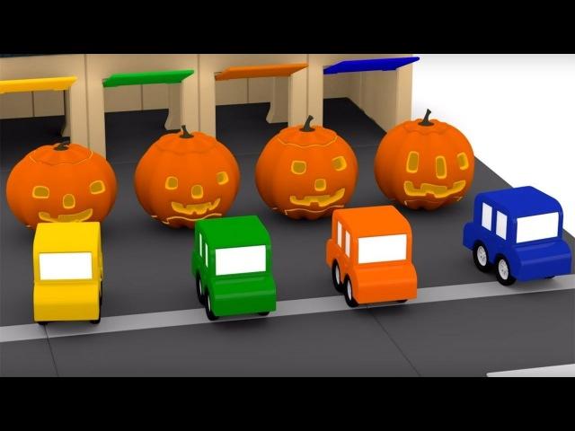 Quatre voitures colorées. La fête dHalloween