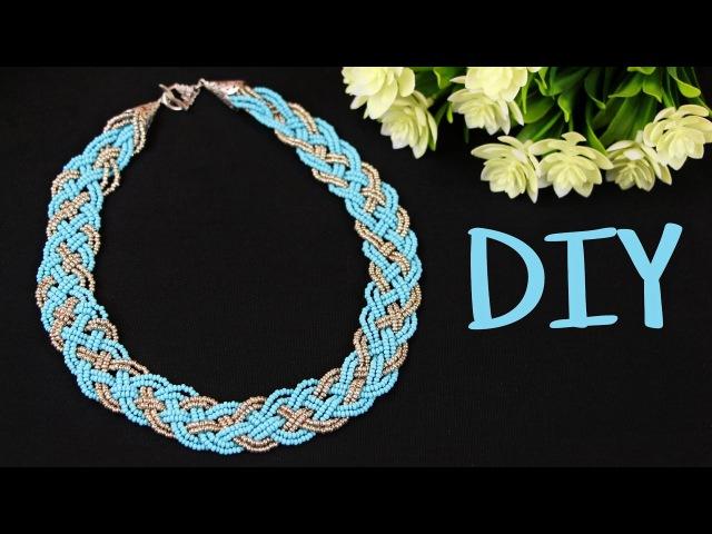 Колье из бисера своими руками Косичка из 5 прядей DIY 5 Strand Braid Beaded Necklace