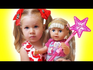 Baby Born doll and Diana play hide and seek, Baby doll kids toys play Диана