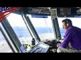 Air Boss &amp Sailors Pri-Fly Operations on Aircraft Carrier -