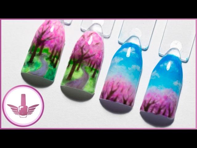 Дизайн ногтей: весенний пейзаж   Маникюр весна, деревья сакуры, облака