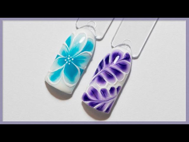 Весенний дизайн ногтей по мокрому гель-лаку | Маникюр цветок, веточка | Гель-лаки Naomi