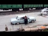 """18 people in russian car """"Volga""""."""