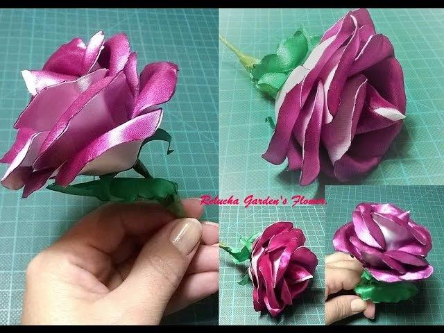 Kanzashi 136 Flor de cetim Rosa duas cores Pétalas Duplas DIY PAP Flower 簪