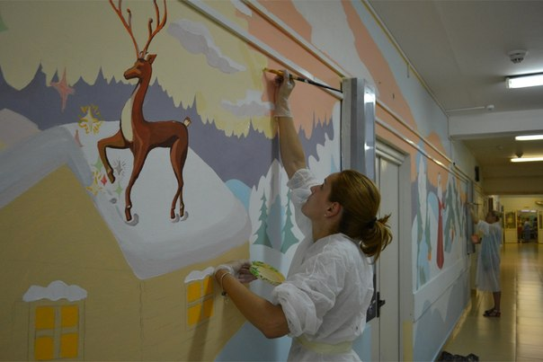 Как сотрудники ОТП Банка рисовали в коридорах Детской городской больни