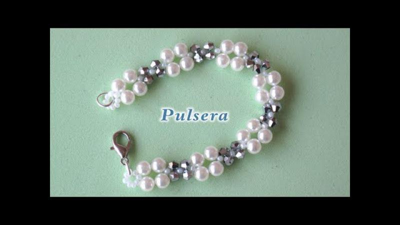 DIY - Pulsera, gargantilla, ó collar fácil de perlas y tupis. DIY Easy bracelet