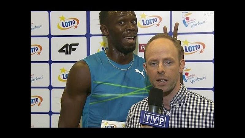 Usain Bolt joking and polish journalist reaction / Usain Bolt, czyli... mistrz drugiego planu
