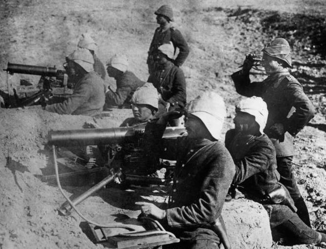Турецкие пулеметные расчеты на учениях. 1914 год.