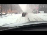 Driving in the snow in New York City, USA