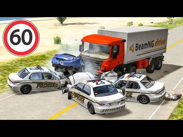 Страшные аварии Грузовики легковушки Полицейский патруль ДТП на дороге Краш те ...