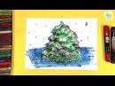 Как нарисовать ЖИВУЮ ЁЛКУ / урок рисования для детей