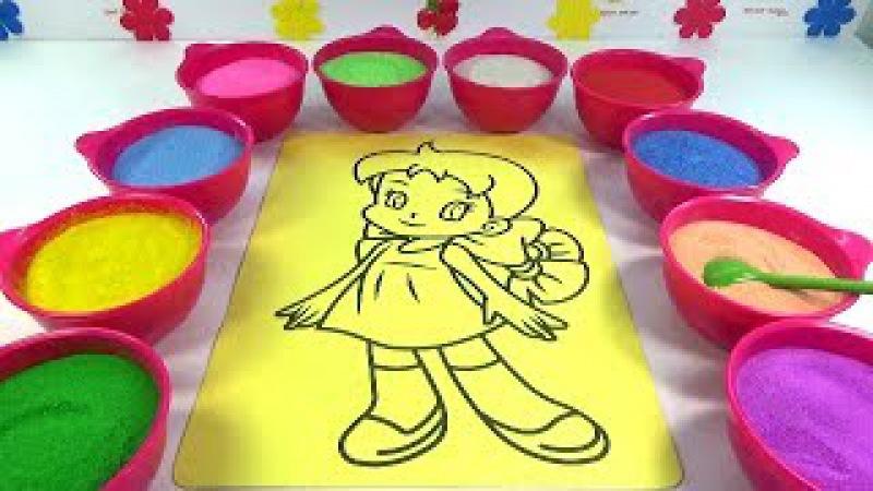 BỐ LÀ TẤT CẢ!Nhạc thiếu nhi!Đồ chơi trẻ em TÔ MÀU TRANH CÁT HÌNH CÔ BÉ Colored Sand Painting