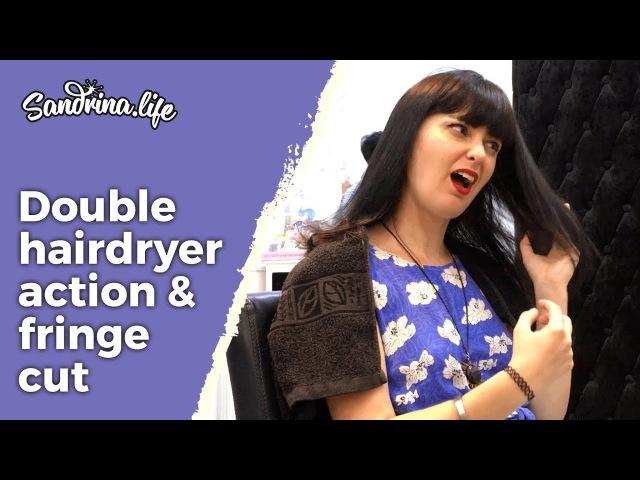 Double hairdryer sound and fringe cut Shoulder massage - ASMR hairdryer sound