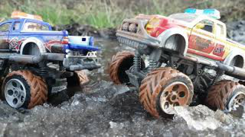 Monster Trucks for Children Playing On ice in water - Toy Trucks for Kids