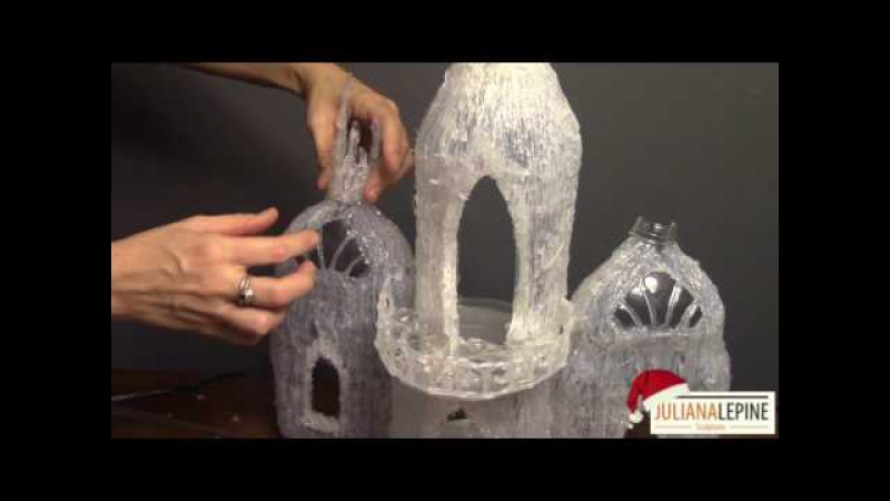 DIY Frozen Castel with hot glue and empty bottles