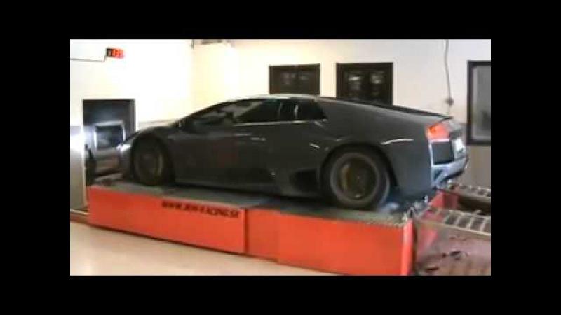 Сумасшедшая Lamborghini Murcielago на тестовом стенде
