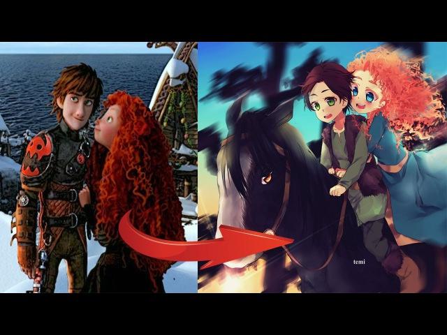 Принцесса Диснея Мерида в стиле аниме. Princess Disney Merida in the style of anime