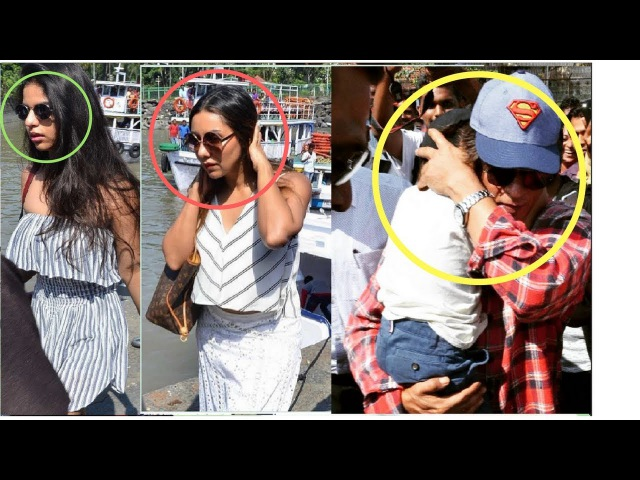 Shahrukh Khan saving Abram, Suhana,and Gauri from Huge Crowd at Gateway of India| back from wed aniv
