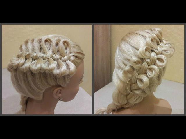 Причёска бантики из волос🎀Hairdress bows of hair🎀коса из бантиков braid from the bows